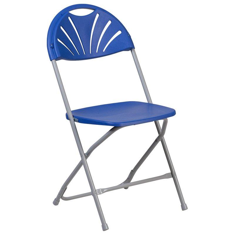 Flash Furniture HERCULES Series 800 lb. Capacity Blue Plastic Fan Back Folding Chair (LE-L-4-BL-GG)