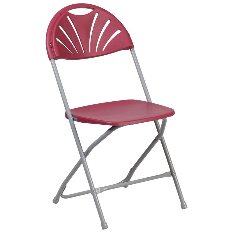 Flash Furniture HERCULES Series 800 lb. Capacity Burgundy Plastic Fan Back Folding Chair (LE-L-4-BUR-GG)