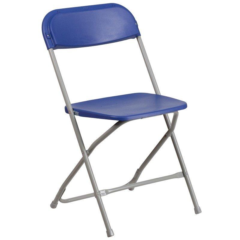 Flash Furniture HERCULES Series 800 lb. Capacity Premium Blue Plastic Folding Chair