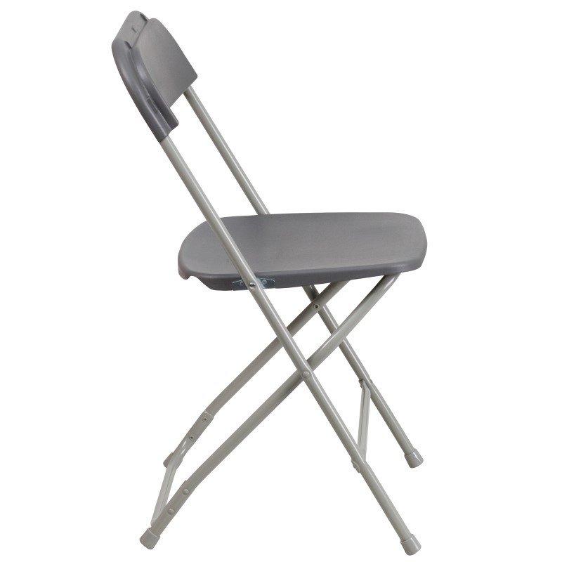 Flash Furniture HERCULES Series 800 lb. Capacity Premium Grey Plastic Folding Chair