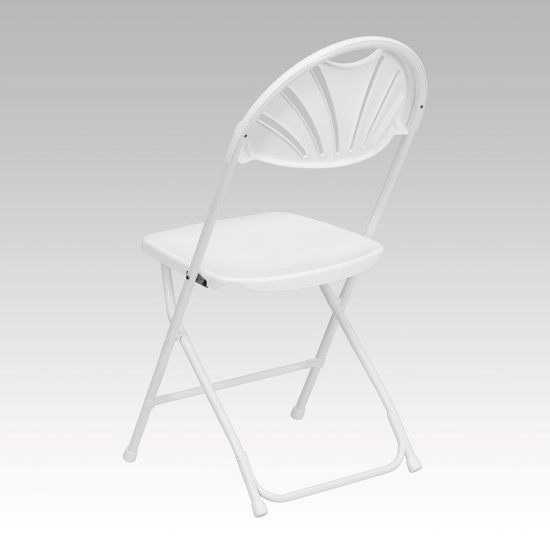 Flash Furniture HERCULES Series 800 lb. Capacity White Plastic Fan Back Folding Chair