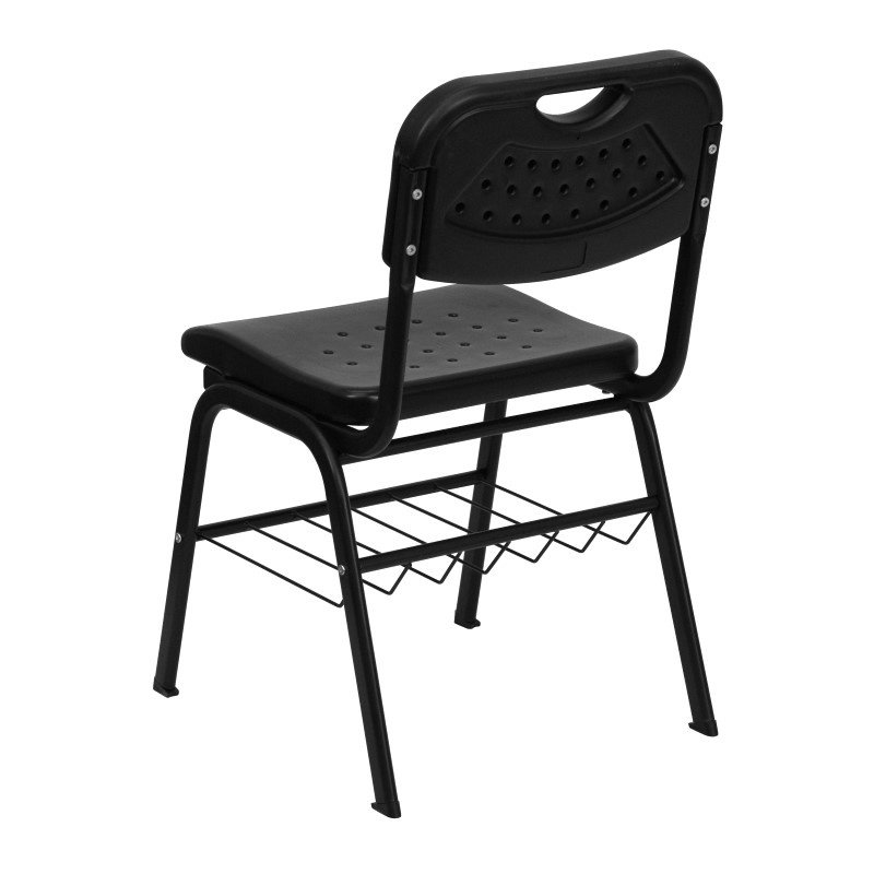 Flash Furniture HERCULES Series 880 lb. Capacity Black Plastic Chair with Black Frame and Book Basket