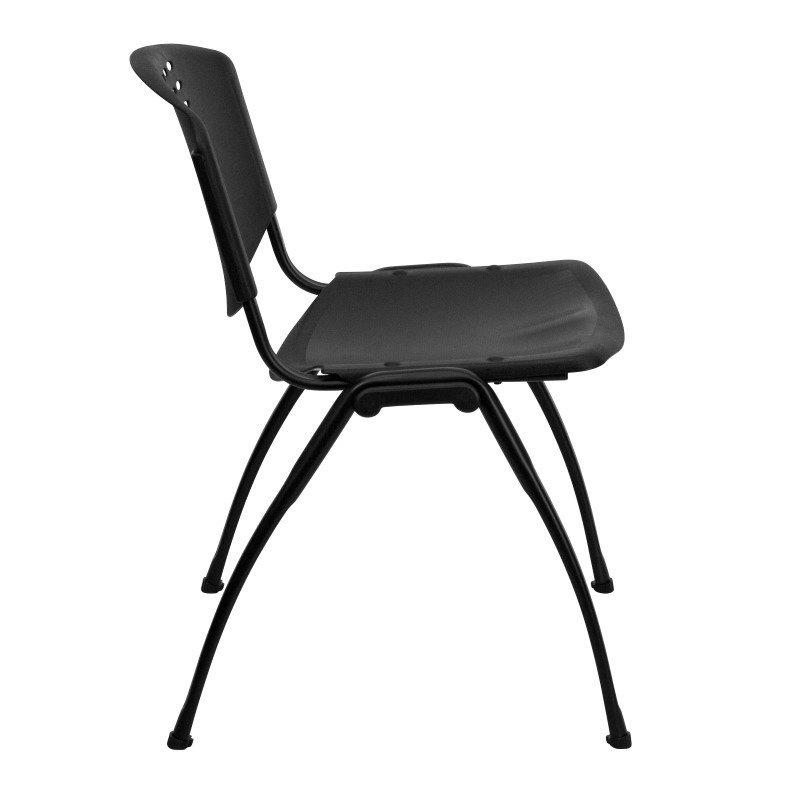 Flash Furniture HERCULES Series 880 lb. Capacity Black Plastic Stack Chair with Black Frame