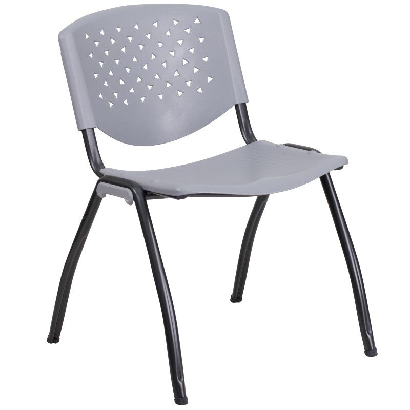 Flash Furniture HERCULES Series 880 lb. Capacity Gray Plastic Stack Chair with Black Frame Finish