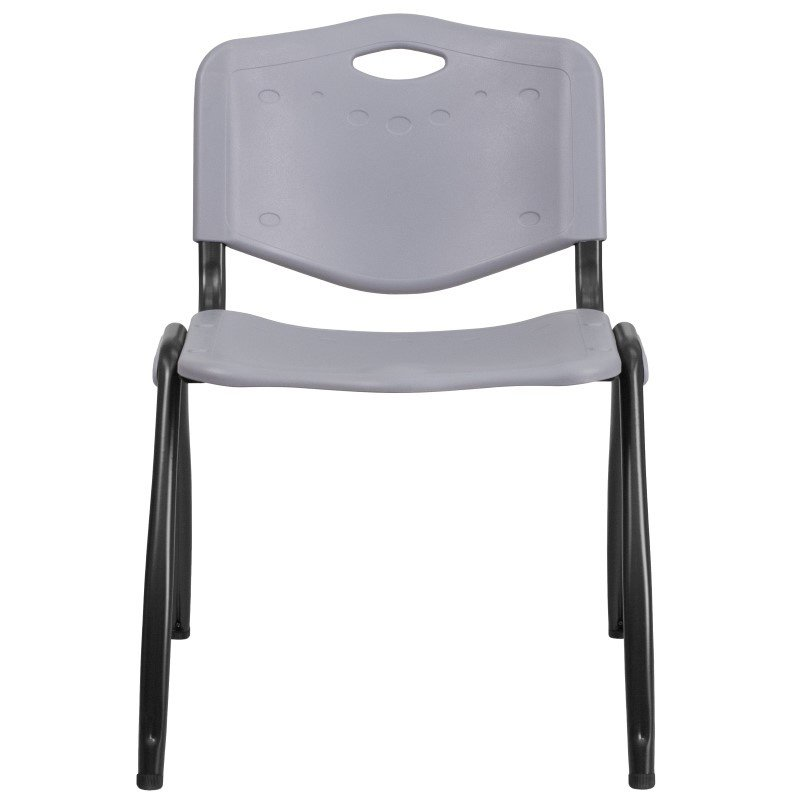 Flash Furniture HERCULES Series 880 lb. Capacity Gray Plastic Stack Chair with Black Frame
