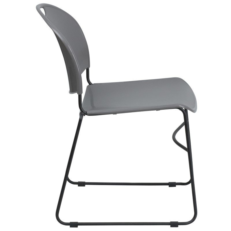 Flash Furniture HERCULES Series 880 lb. Capacity Gray Ultra Compact Stack Chair with Black Frame