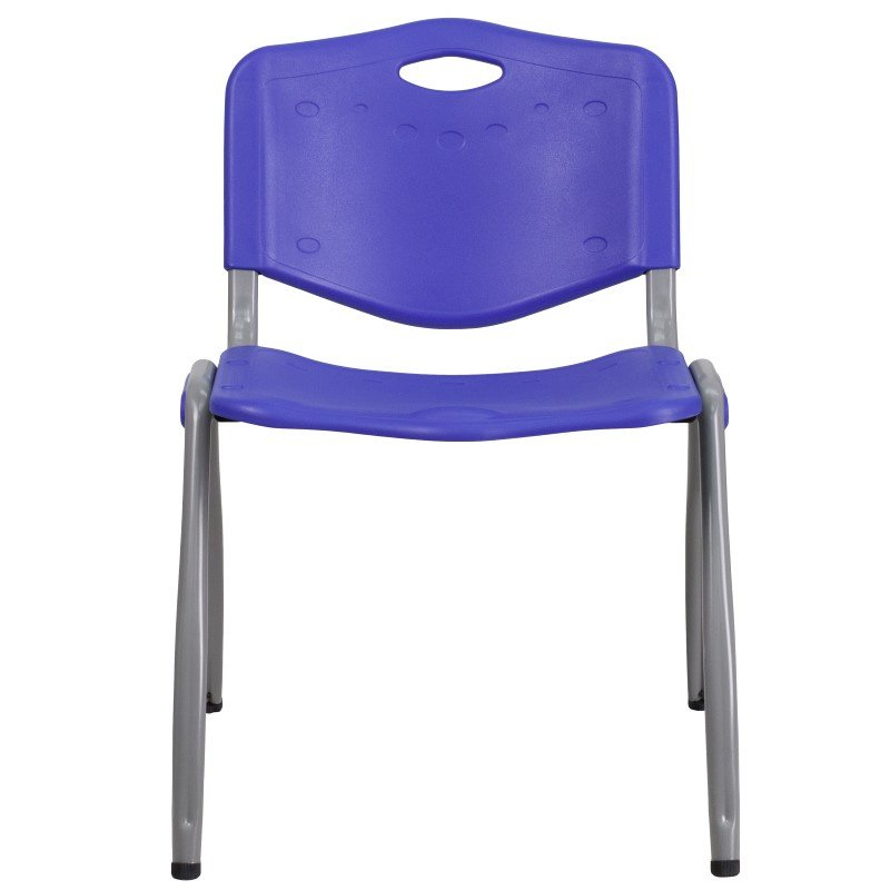 Flash Furniture HERCULES Series 880 lb. Capacity Navy Plastic Stack Chair with Gray Frame