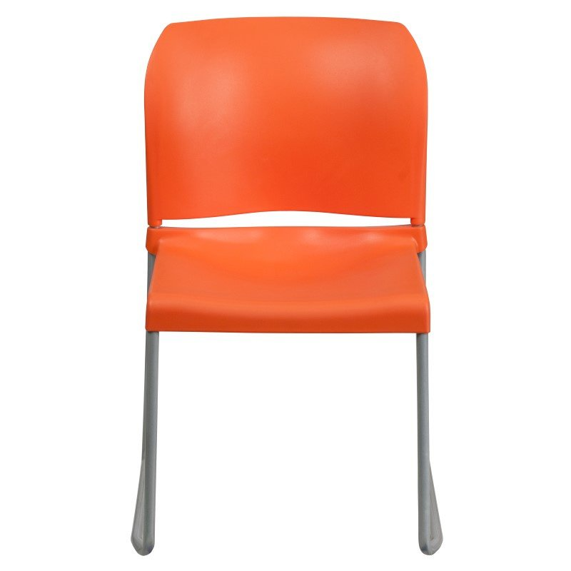 Flash Furniture HERCULES Series 880 lb. Capacity Orange Full Back Contoured Stack Chair with Sled Base