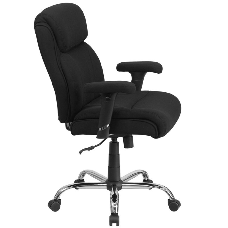 Flash Furniture HERCULES Series Big & Tall 400 lb. Rated Black Fabric Swivel Task Chair with Adjustable Arms (GO-2031F-GG)