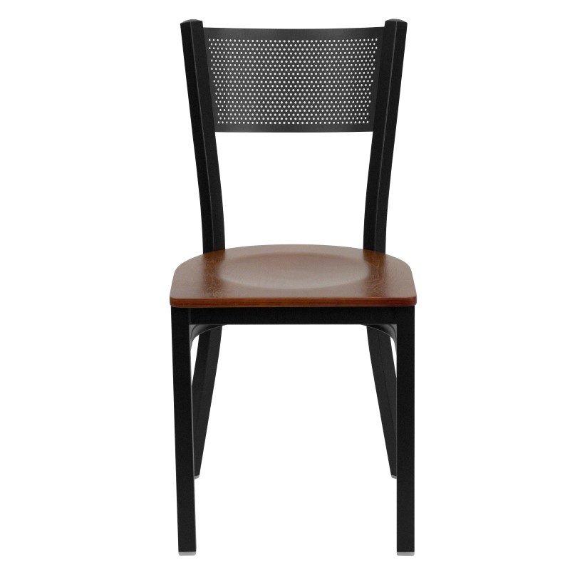 Flash Furniture HERCULES Series Black Grid Back Metal Restaurant Chair in Cherry Wood Seat