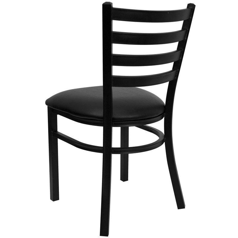 Flash Furniture HERCULES Series Black-Ladder Back Metal Restaurant Chair in Black Vinyl Seat