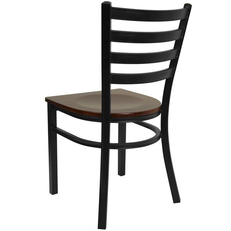 Flash Furniture HERCULES Series Black-Ladder Back Metal Restaurant Chair in Mahogany Wood Seat