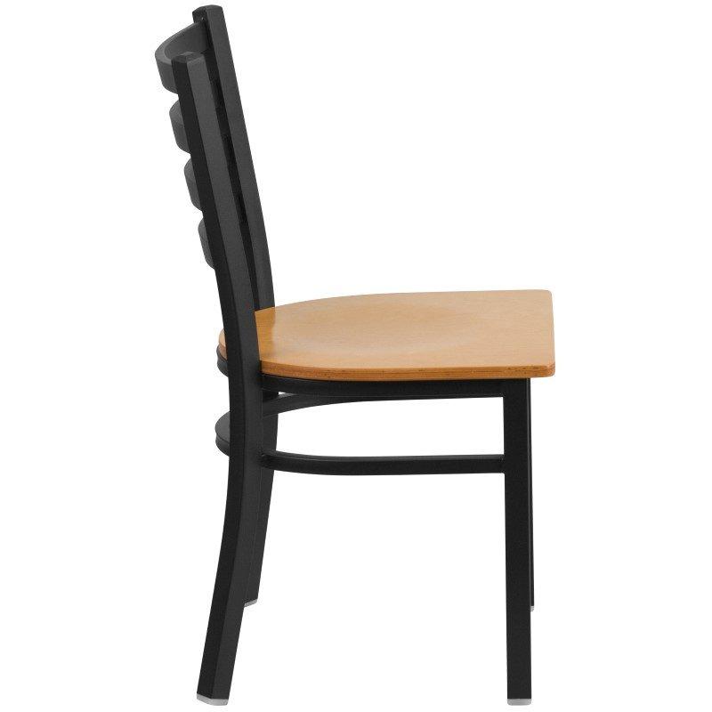 Flash Furniture HERCULES Series Black-Ladder Back Metal Restaurant Chair in Natural Wood Seat