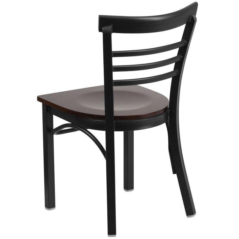 Flash Furniture HERCULES Series Black Ladder Back Metal Restaurant Chair in Walnut Wood Seat