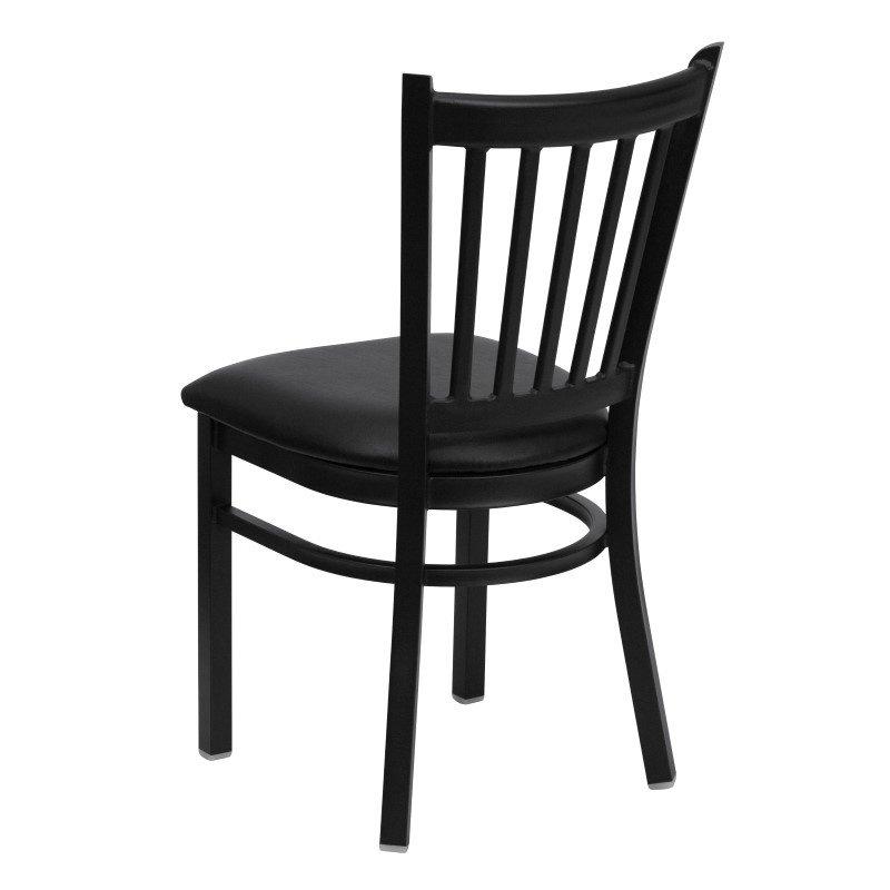 Flash Furniture HERCULES Series Black Vertical Back Metal Restaurant Chair in Black Vinyl Seat