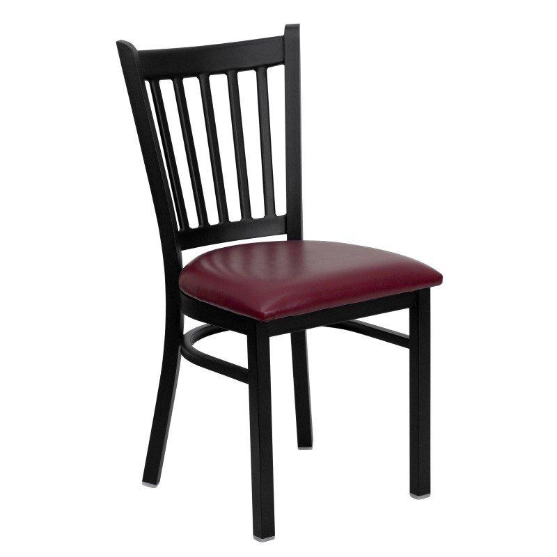 Flash Furniture HERCULES Series Black Vertical Back Metal Restaurant Chair in Burgundy Vinyl Seat