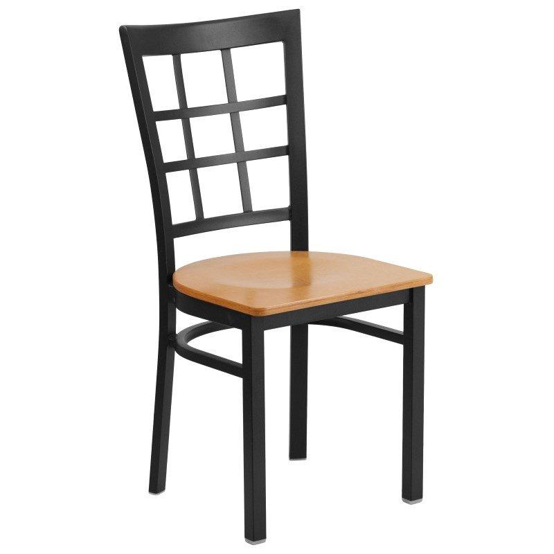 Flash Furniture HERCULES Series Black Window Back Metal Restaurant Chair in Natural Wood Seat