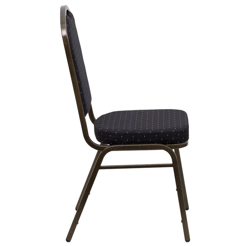 Flash Furniture HERCULES Series Crown Back Stacking Banquet Chair with Black Patterned Fabric and 2.5'' Thick Seat in Gold Vein Frame