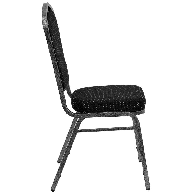 Flash Furniture HERCULES Series Crown Back Stacking Banquet Chair with Black Patterned Fabric and 2.5'' Thick Seat in Silver Vein Frame