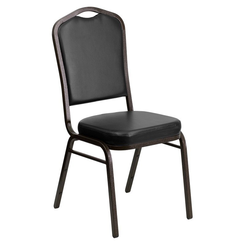 Flash Furniture HERCULES Series Crown Back Stacking Banquet Chair with Black Vinyl and 2.5'' Thick Seat in Gold Vein Frame