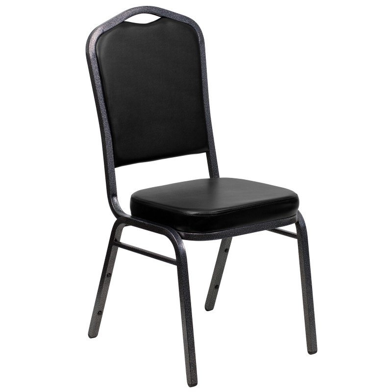 Flash Furniture HERCULES Series Crown Back Stacking Banquet Chair with Black Vinyl and 2.5'' Thick Seat in Silver Vein Frame