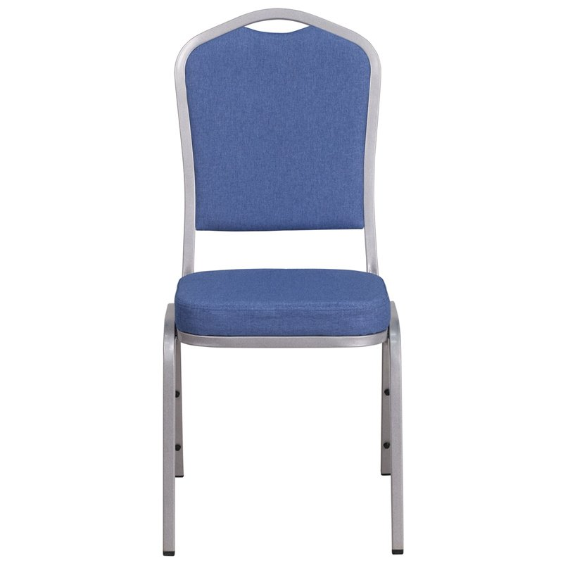 """Flash Furniture HERCULES Series Crown Back Stacking Banquet Chair with Blue Fabric and 2.5"""" Thick Seat - Silver Frame (FD-C01-S-7-GG)"""