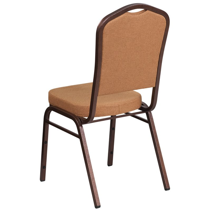 """Flash Furniture HERCULES Series Crown Back Stacking Banquet Chair with Brown Fabric and 2.5"""" Thick Seat - Copper Vein Frame (FD-C01-C-4-GG)"""