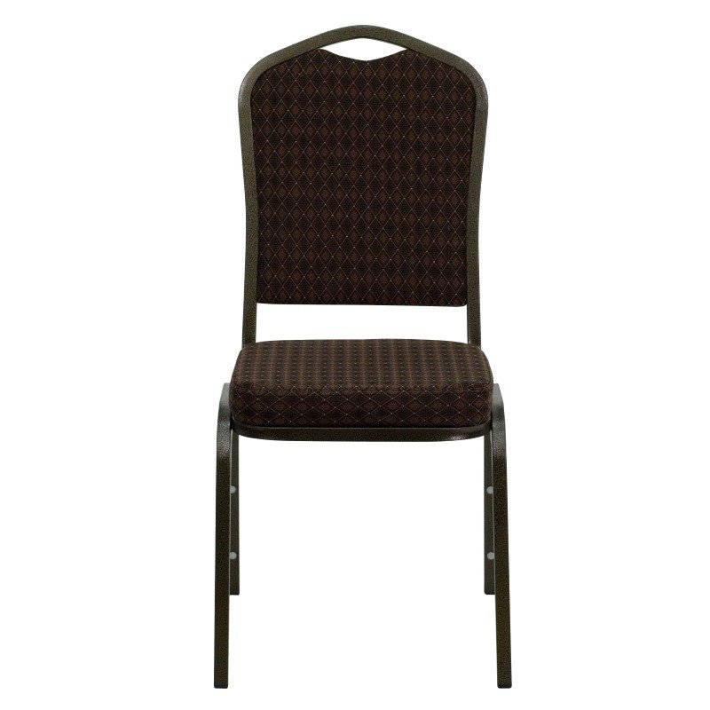 Flash Furniture HERCULES Series Crown Back Stacking Banquet Chair with Brown Patterned Fabric and 2.5'' Thick Seat - Gold Vein Frame
