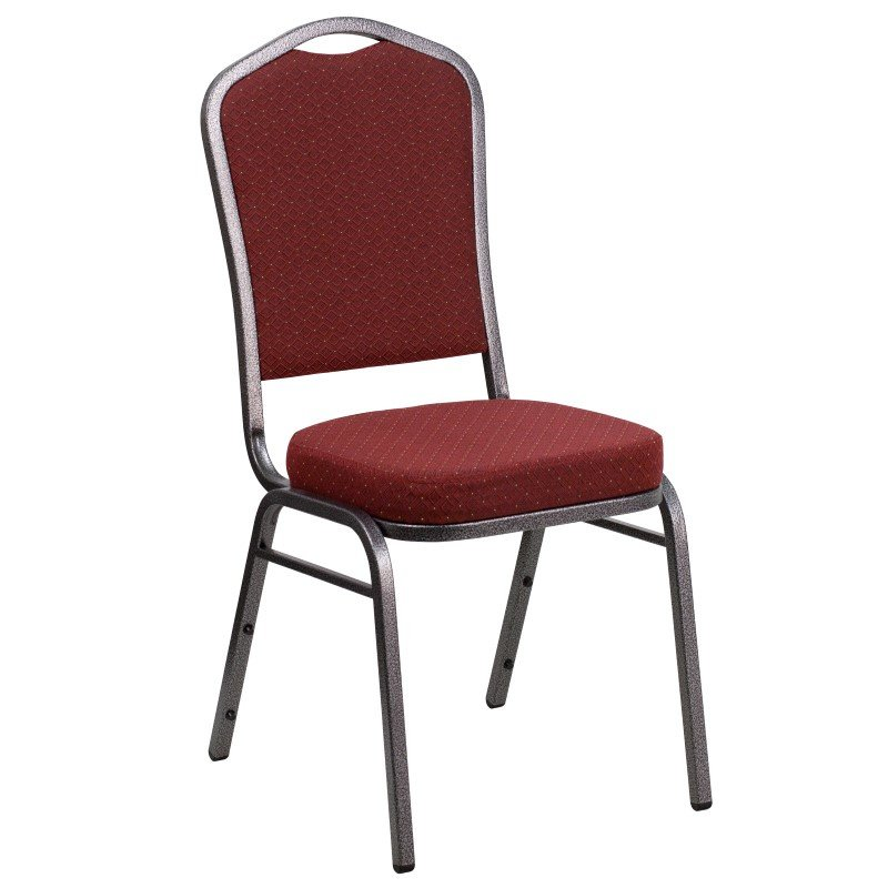 Flash Furniture HERCULES Series Crown Back Stacking Banquet Chair with Burgundy Patterned Fabric and 2.5'' Thick Seat - Silver Vein Frame