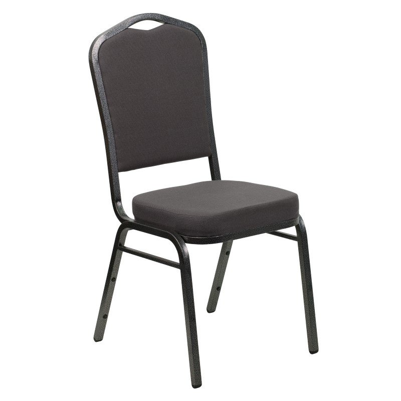 Flash Furniture HERCULES Series Crown Back Stacking Banquet Chair with Gray Fabric and 2.5'' Thick Seat in Silver Vein Frame