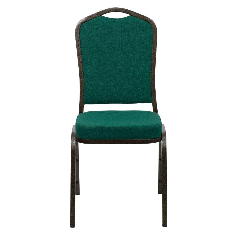 Flash Furniture HERCULES Series Crown Back Stacking Banquet Chair with Green Fabric and 2.5'' Thick Seat in Gold Vein Frame