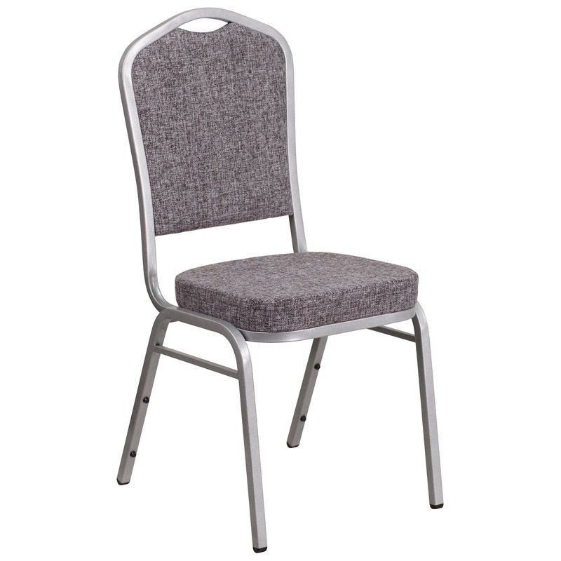 """Flash Furniture HERCULES Series Crown Back Stacking Banquet Chair with Herringbone Fabric and 2.5"""" Thick Seat - Silver Frame (FD-C01-S-12-GG)"""