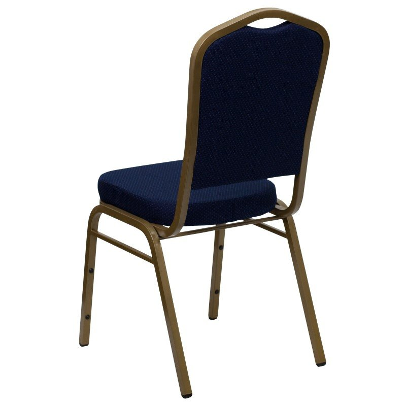 Flash Furniture HERCULES Series Crown Back Stacking Banquet Chair with Navy Blue Patterned Fabric and 2.5'' Thick Seat in Gold Frame