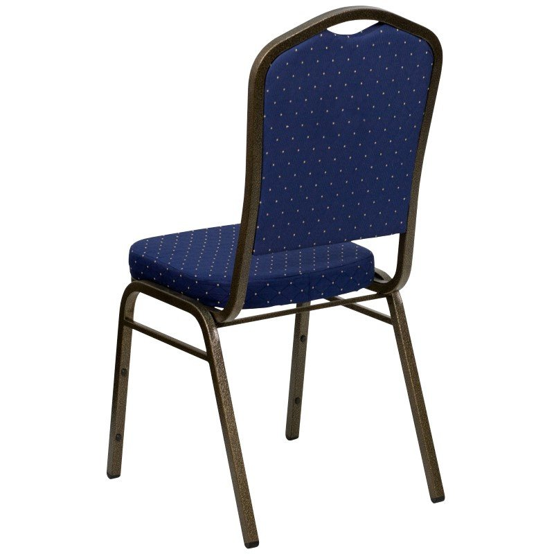 Flash Furniture HERCULES Series Crown Back Stacking Banquet Chair with Navy Blue Patterned Fabric and 2.5'' Thick Seat in Gold Vein Frame