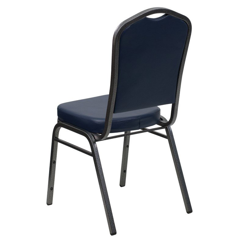 Flash Furniture HERCULES Series Crown Back Stacking Banquet Chair with Navy Vinyl and 2.5'' Thick Seat in Silver Vein Frame