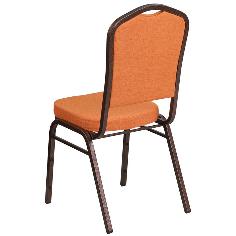 """Flash Furniture HERCULES Series Crown Back Stacking Banquet Chair with Orange Fabric and 2.5"""" Thick Seat - Copper Vein Frame (FD-C01-C-9-GG)"""