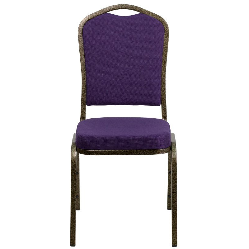 Flash Furniture HERCULES Series Crown Back Stacking Banquet Chair with Purple Fabric and 2.5'' Thick Seat in Gold Vein Frame