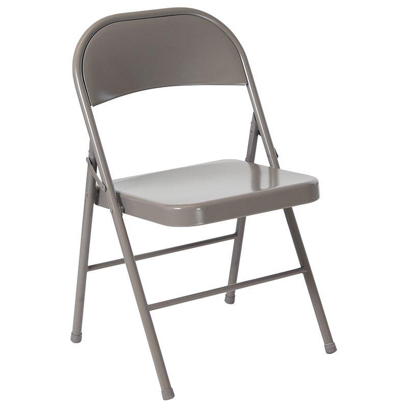 Flash Furniture HERCULES Series Double Braced Gray Metal Folding Chair (BD-F002-GY-GG)