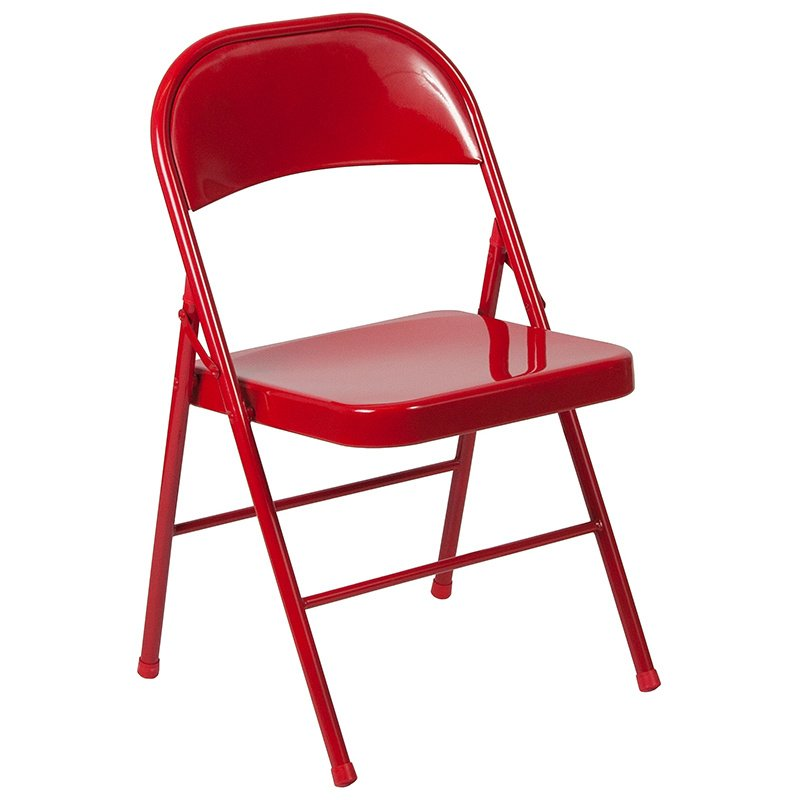Flash Furniture HERCULES Series Double Braced Red Metal Folding Chair (BD-F002-RED-GG)