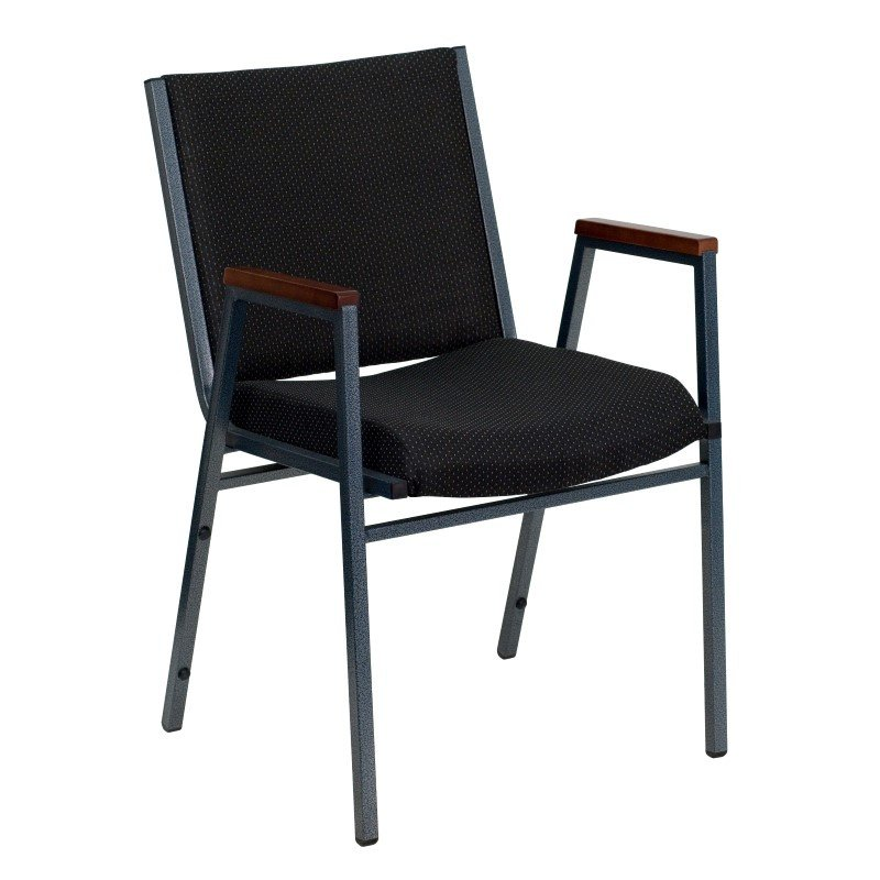 Flash Furniture HERCULES Series Heavy Duty' 3'' Thickly Padded' Black Patterned Upholstered Stack Chair with Arms and Ganging Bracket