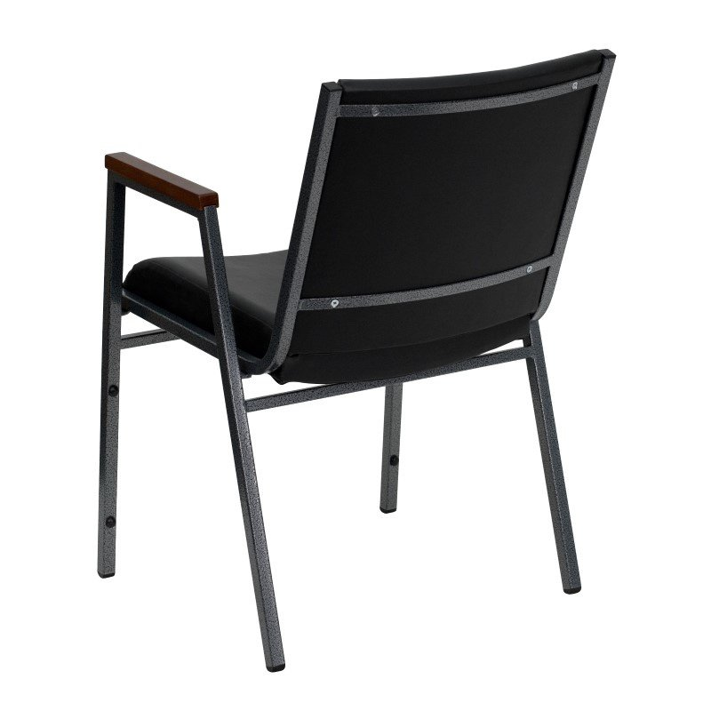 Flash Furniture HERCULES Series Heavy Duty' 3'' Thickly Padded' Black Vinyl Upholstered Stack Chair with Arms and Ganging Bracket