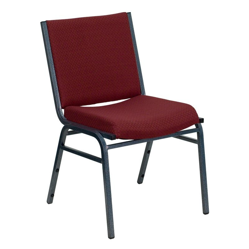 Flash Furniture HERCULES Series Heavy Duty' 3'' Thickly Padded' Burgundy Patterned Upholstered Stack Chair with Ganging Bracket
