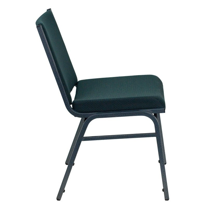 Flash Furniture HERCULES Series Heavy Duty' 3'' Thickly Padded' Green Patterned Upholstered Stack Chair with Ganging Bracket