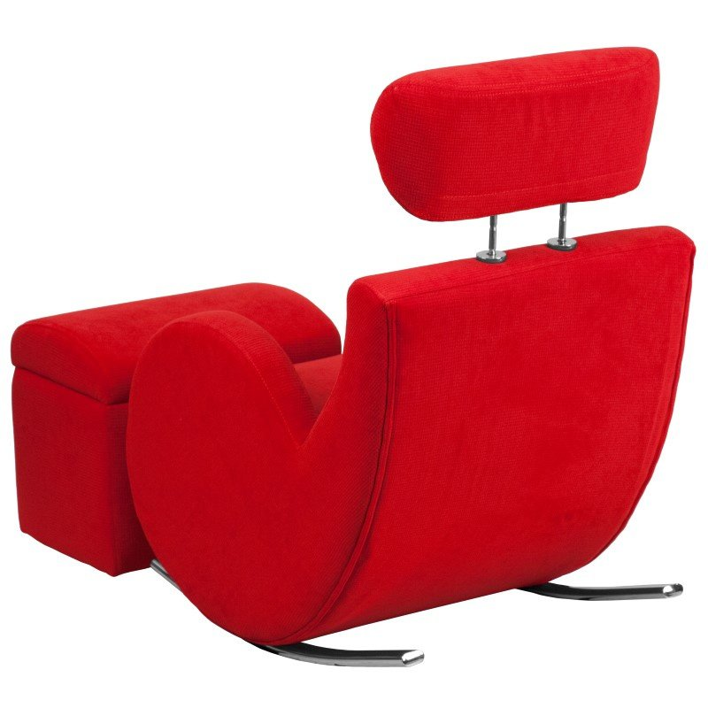Flash Furniture HERCULES Series Red Fabric Rocking Chair with Storage Ottoman