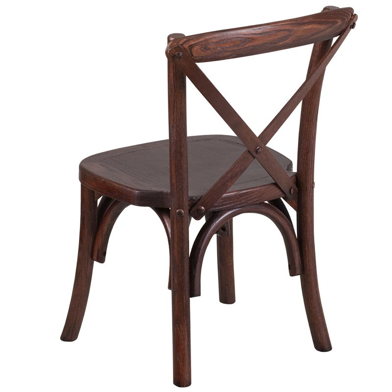 Flash Furniture HERCULES Series Stackable Kids Mahogany Wood Cross Back Chair (XU-X-MAH-KID-GG)