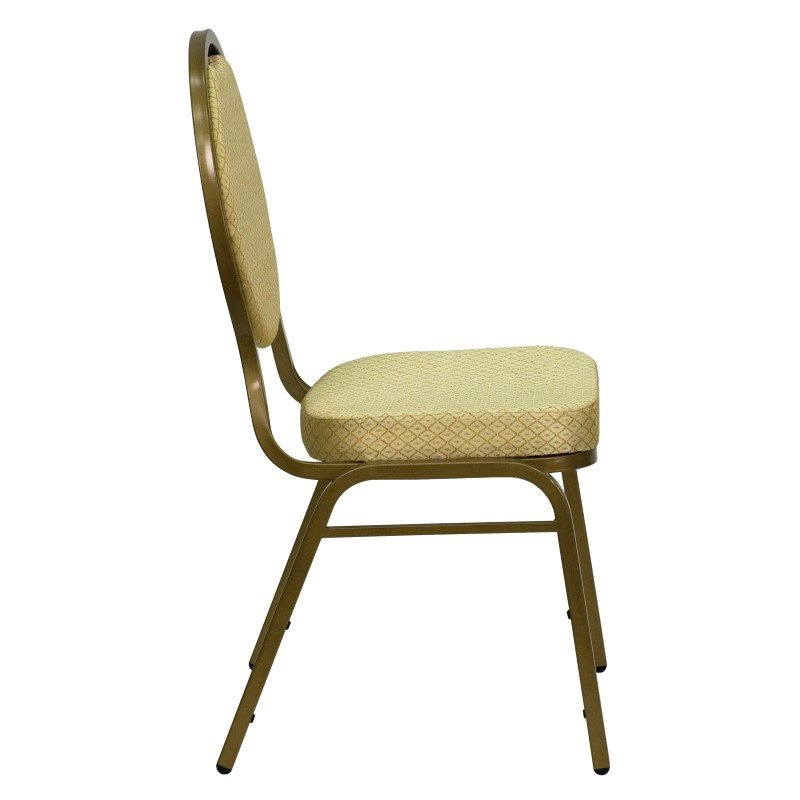 Flash Furniture HERCULES Series Teardrop Back Stacking Banquet Chair with Beige Patterned Fabric and 2.5'' Thick Seat in Gold Frame
