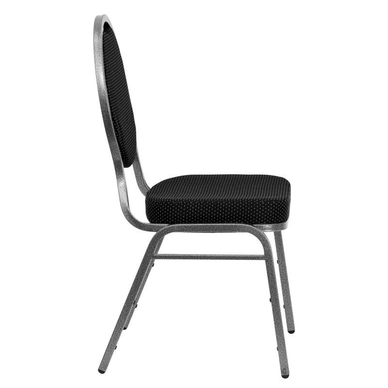 Flash Furniture HERCULES Series Teardrop Back Stacking Banquet Chair with Black Patterned Fabric and 2.5'' Thick Seat in Silver Vein Frame