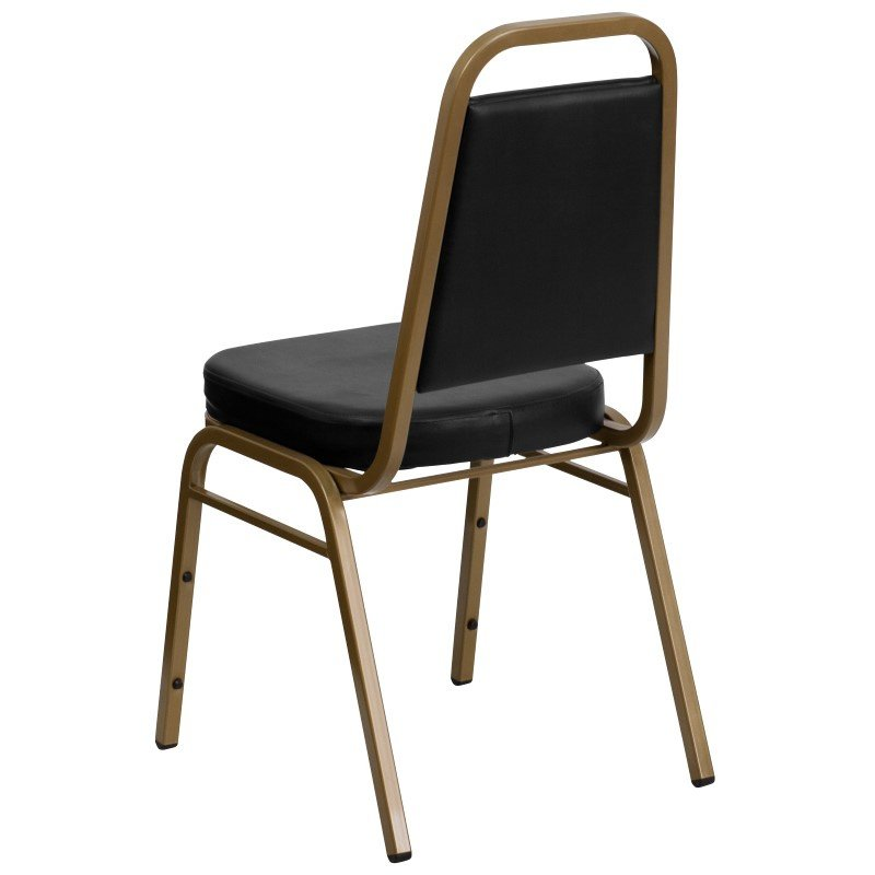 Flash Furniture HERCULES Series Trapezoidal Back Stacking Banquet Chair with Black Vinyl and 2.5'' Thick Seat in Gold Frame