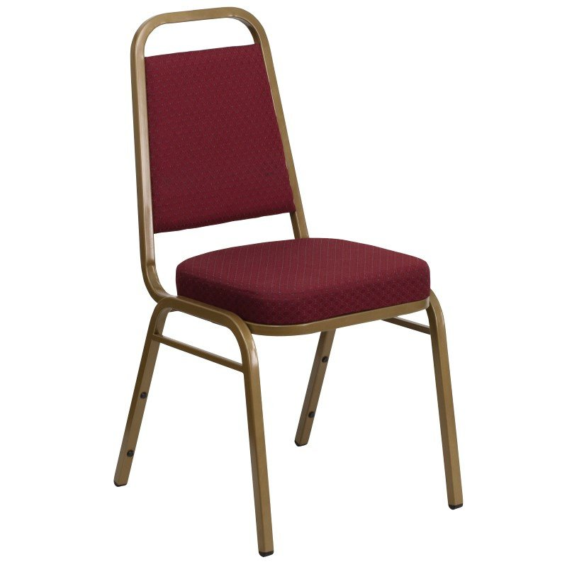 Flash Furniture HERCULES Series Trapezoidal Back Stacking Banquet Chair with Burgundy Patterned Fabric and 2.5'' Thick Seat in Gold Frame