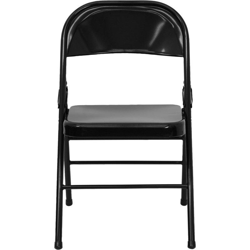 Flash Furniture HERCULES Series Triple Braced & Double Hinged Black Metal Folding Chair